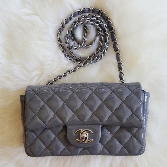 511595792bee CHANEL Handbags - Chanel mini rectangle flap grey patent lambskin