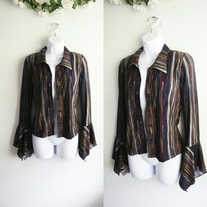 Lia Lee Tops - Lia Lee Sequin Striped Buttoned Blouse