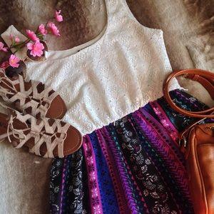 Lily Rose Dresses & Skirts - Mixed Print Sleeveless Boho Maxi Dress