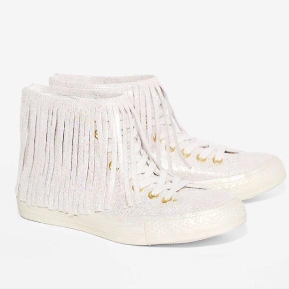 d762ac9306a99c Iridescent fringe Converse sneakers NIB