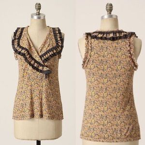 Anthropologie Suave Shell Ruffle Tank Floral Top