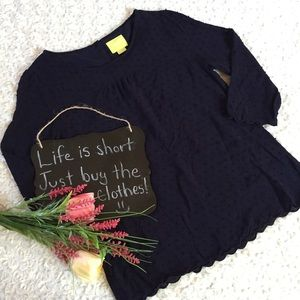 Anthropologie Maeve navy dotted top