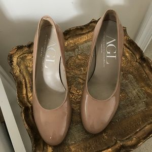 Agl Shoes - AGL Nude Patent Leather Pumps, size 37.5 (7 1/2)