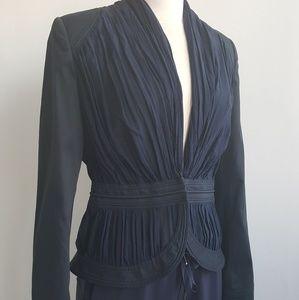 Zac Posen Jackets & Blazers - ZAC POSEN Navy Blue Silk Peplum Blazer