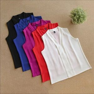 V-neck Sleevless Tops Blouse