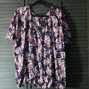 Pure Energy Tops - Cute Floral Faux Button Down Top