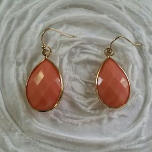 Pink and Gold Tone Faceted Earrings