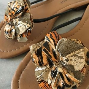 Madden Girl tiger print thong sandle
