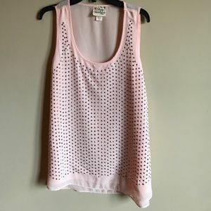 Pretty Rebellious Tops - Pink and Silver Studded Tank