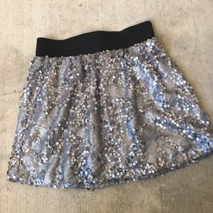 Silver Sequin Miniskirt