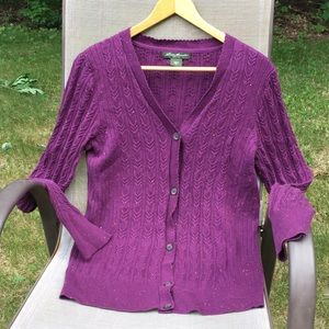 Eddie Bauer purple cable knit button-up sweater