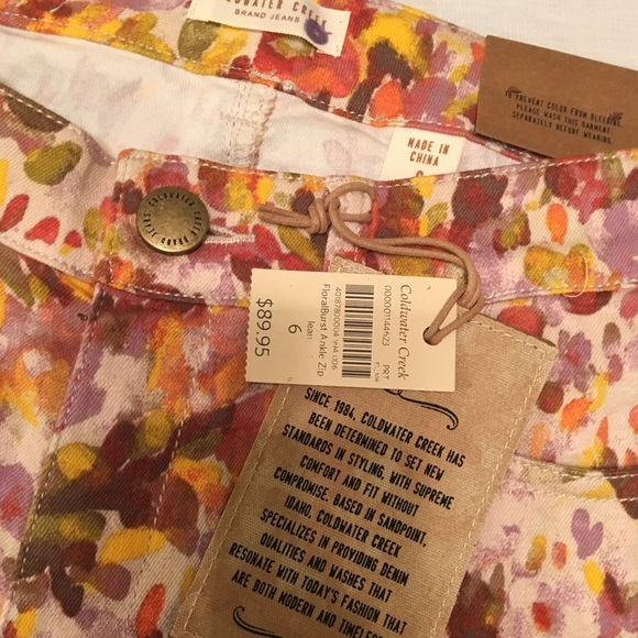 66 Off Coldwater Creek Denim Nwt Floral Stretch Jeans