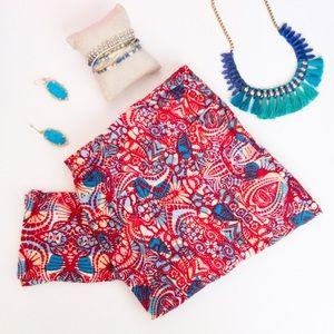 LuLaRoe Red and Blue Print T&C Leggings