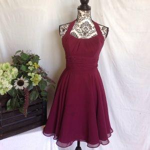 Mori Lee Dresses & Skirts - Mori Lee Chiffon Maroon Halter Dress
