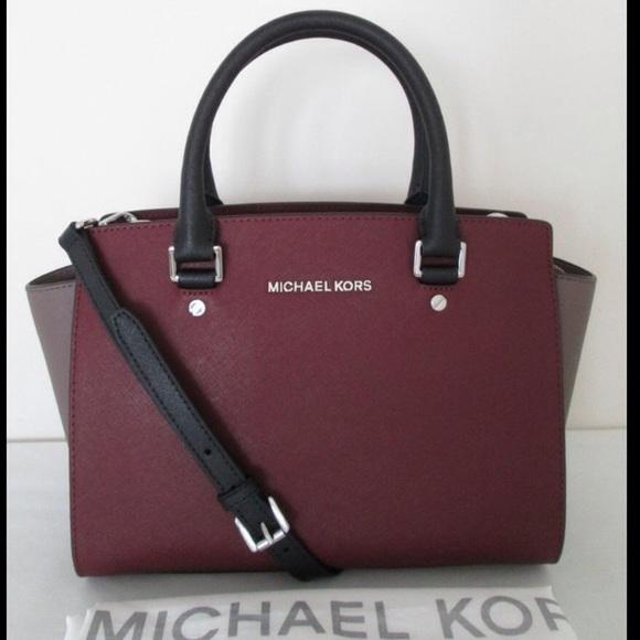 20951d3de910 Michael Kors Selma Merlot Color block Satchel. M 59408312a88e7d38ca022eae