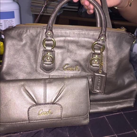 9a48c6524c Coach Handbags - Authentic Coach mercury gold wallet   purse set
