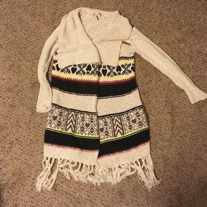 Edgy cream fair isle super long open front sweater