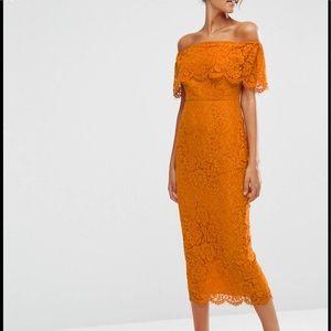 Asos orange off shoulder dress (worn once)