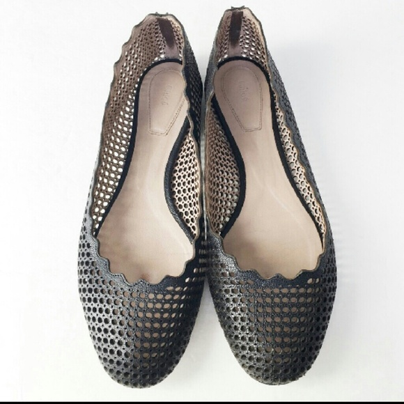 aac42dd33 Chloe Shoes - Chloe Perforated Scallop Ballet Flat Black Leather