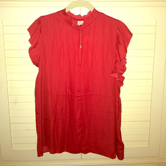 GAP Tops - Red Sleeveless Blouse w Ruffle Detail NWT