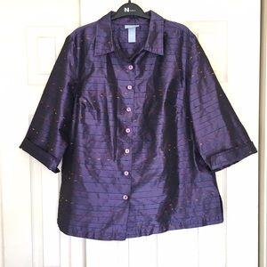Liz & Me Jackets & Blazers - Royal Purple 8-Button 3/4-Sleeve Jacket Unlined
