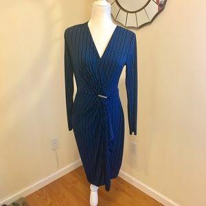 Michael Kors Long Sleeve Faux Wrap Jersey Dress
