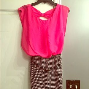 Accidentally In Love Dresses & Skirts - Hot pink chiffon & polka dot dress/open bow back
