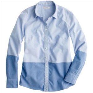 J. CREW Boy Shirt Colorblock Oxford Chambray