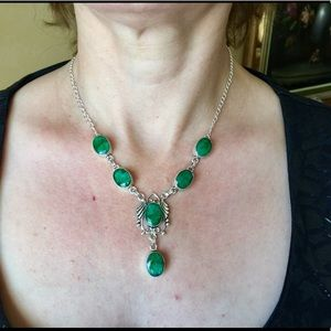 B&B Jewelry - Genuine Raw Emerald Statement Necklace