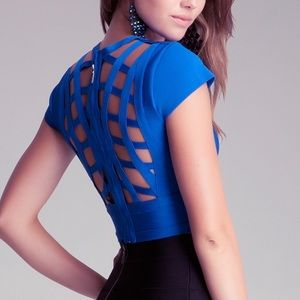 New! Whit not tag Bebe cutout cage back top