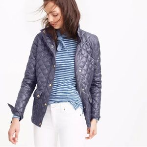 J.CREW Gray Shiny Downtown Field Quilted Jacket