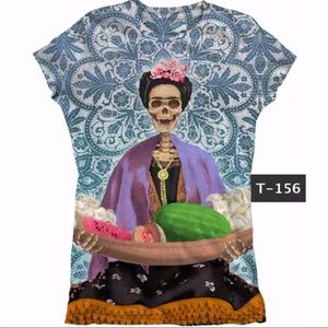 Frida Kahlo Graphic Tee T-Shirt Cotton Stretchy