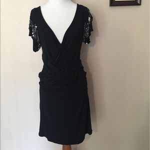 Black Ruched Sequin Sleeve Tight Free People Dress
