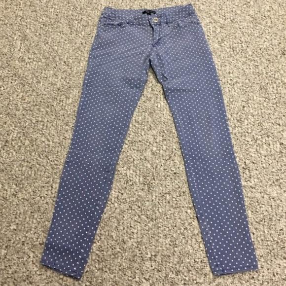 Chambray pants with white polka dots