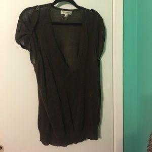 isaac mizrahi for target Sweaters - Isaac Mizrahi sheer brown short sleeve sweater