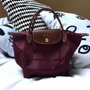 Longchamp Handbags - Longchamp Burgundy Le Pliage Tote Top Handle S