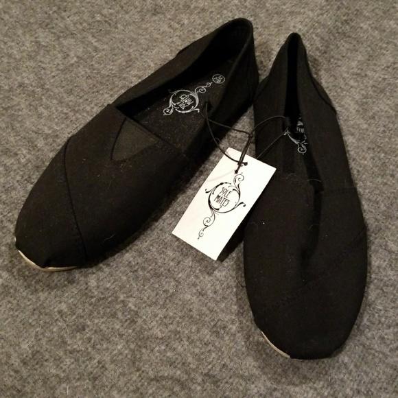 Soul Mates Black Slip On Loafers Size