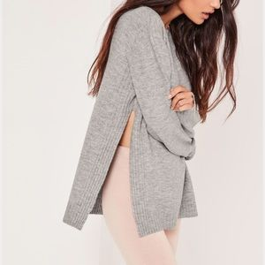 Last One! Grey Side Split Sweater