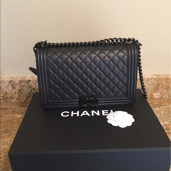chanel bags | limited edition so black caviar le boy bag | poshmark