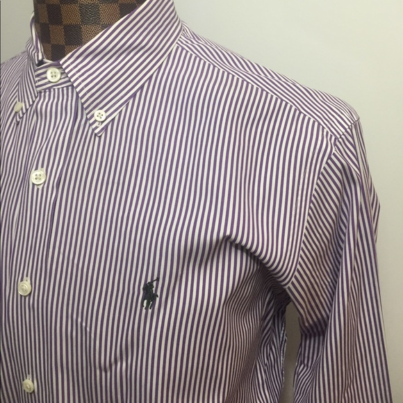 Polo by ralph lauren polo ralph lauren xl purple for Purple striped dress shirt