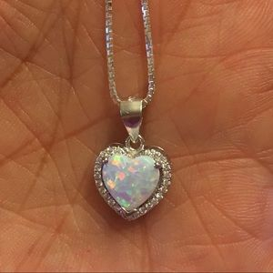 Jewelry - Sterling Silver White Lab Opal Necklace