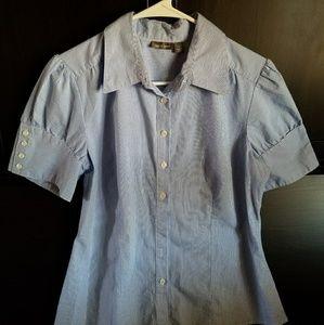 5d47cd21 Apt. 9 Tops   Womens Thin Blue Striped Short Sleeve Button Down ...