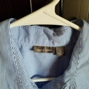 5d47cd21 Apt. 9 Tops | Womens Thin Blue Striped Short Sleeve Button Down ...