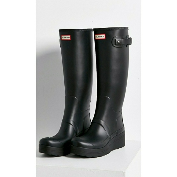 b95140c538f Hunter Original Low Wedge black Rain Boot NWT