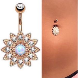 Rose Gold White Opal Belly Button Ring Navel Bar