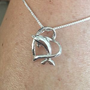 Jewelry - Sterling Silver Dolphin 🐬 Heart ❤️ Necklace