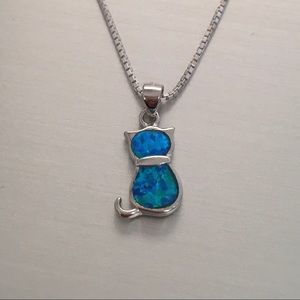 Jewelry - Sterling Silver Small Blue Lab Opal Cat Necklace