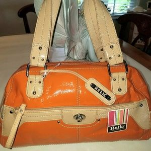 Relic Handbags - NWT Relic Patent Orange & Camel Satchel Handbag