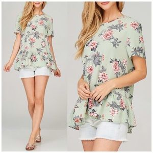Sage Bubble Hem Floral Top