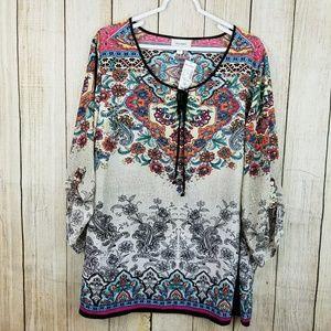 Dress Barn Tops - Boho multicolored floral tunic top